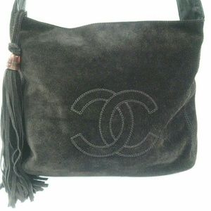 Authentic Chanel Brown Suede Shoulder bag